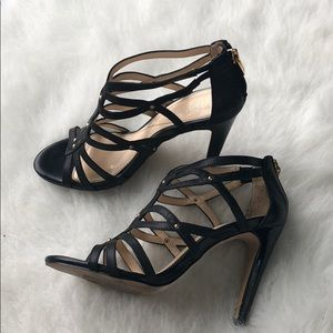 Isola leather cage heels